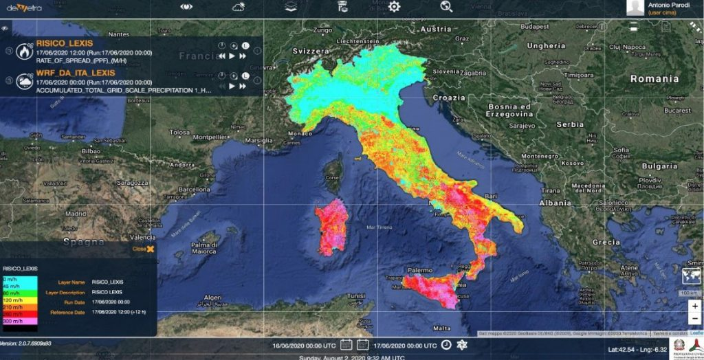 Workflow results visualized with Dewetra platform (Italian Department of Civil Protection, CIMA)