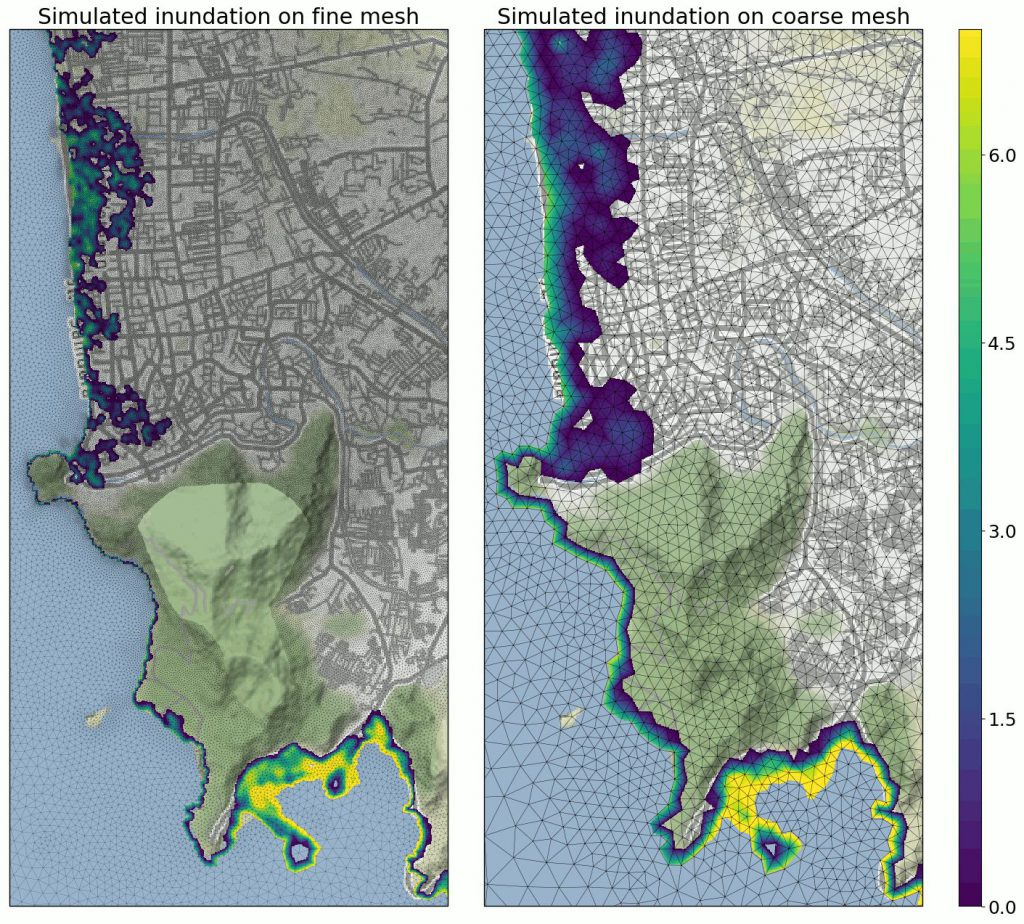 Figure2: Inundation maps for both a precise and a coarse mesh, showing how close the early one is.